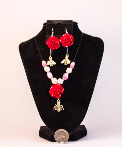 Rose and Bee Jewelry