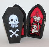 Skulls Earring and Necklace Set in Coffin Box