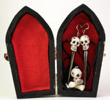 Skulls Earring and Necklace Set in Coffin Box, Jewelry - Team Manticore