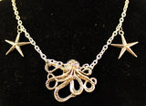 Metal Octopus and Starfish Necklace