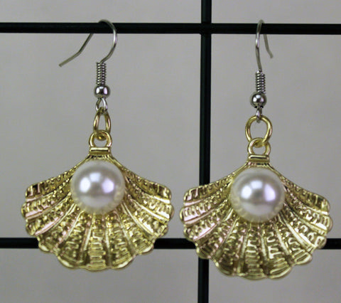 Gold Shell with Pearl Earrings, Jewelry - Team Manticore