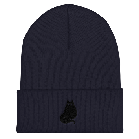 Black Cat Cuffed Beanie, [product_type] - Team Manticore