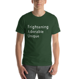 Frightening Adorable Unique in White Text (Mens)