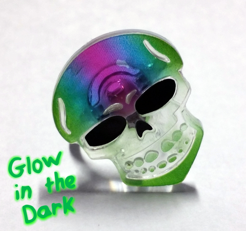Colorful Glowing Skull Rings