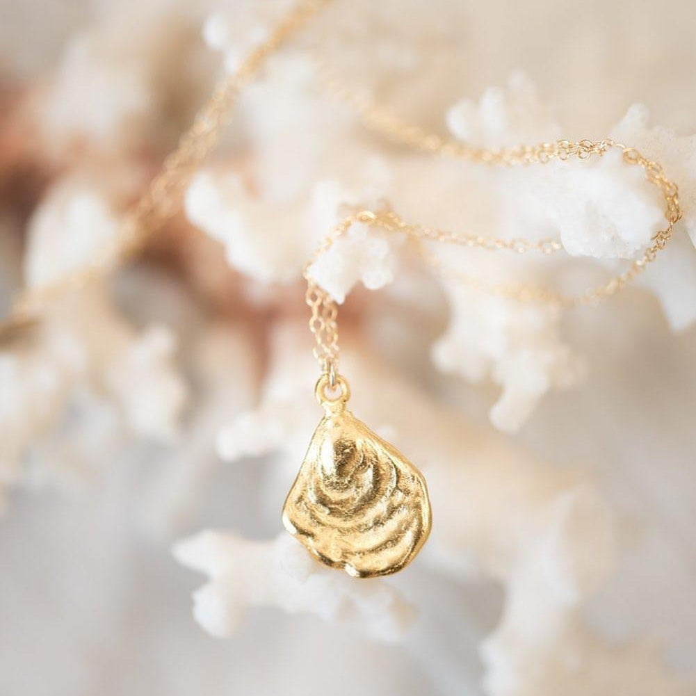 Gold Dipped Oyster Shell Necklace
