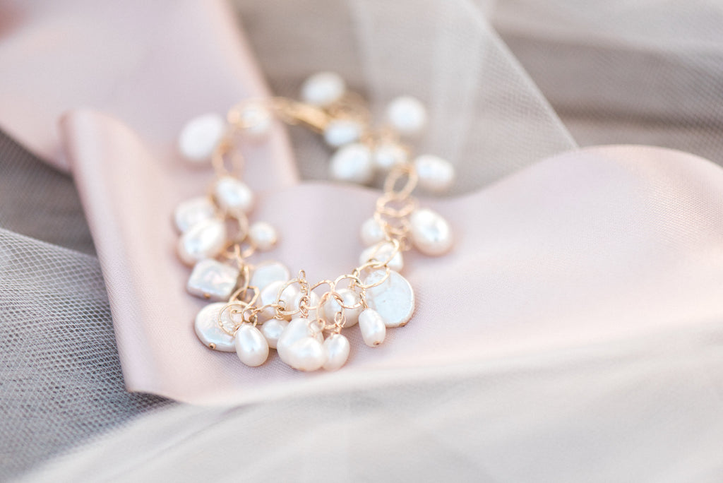 Bridal or Bridesmaids Freshwater Pearl + Gold Bracelet