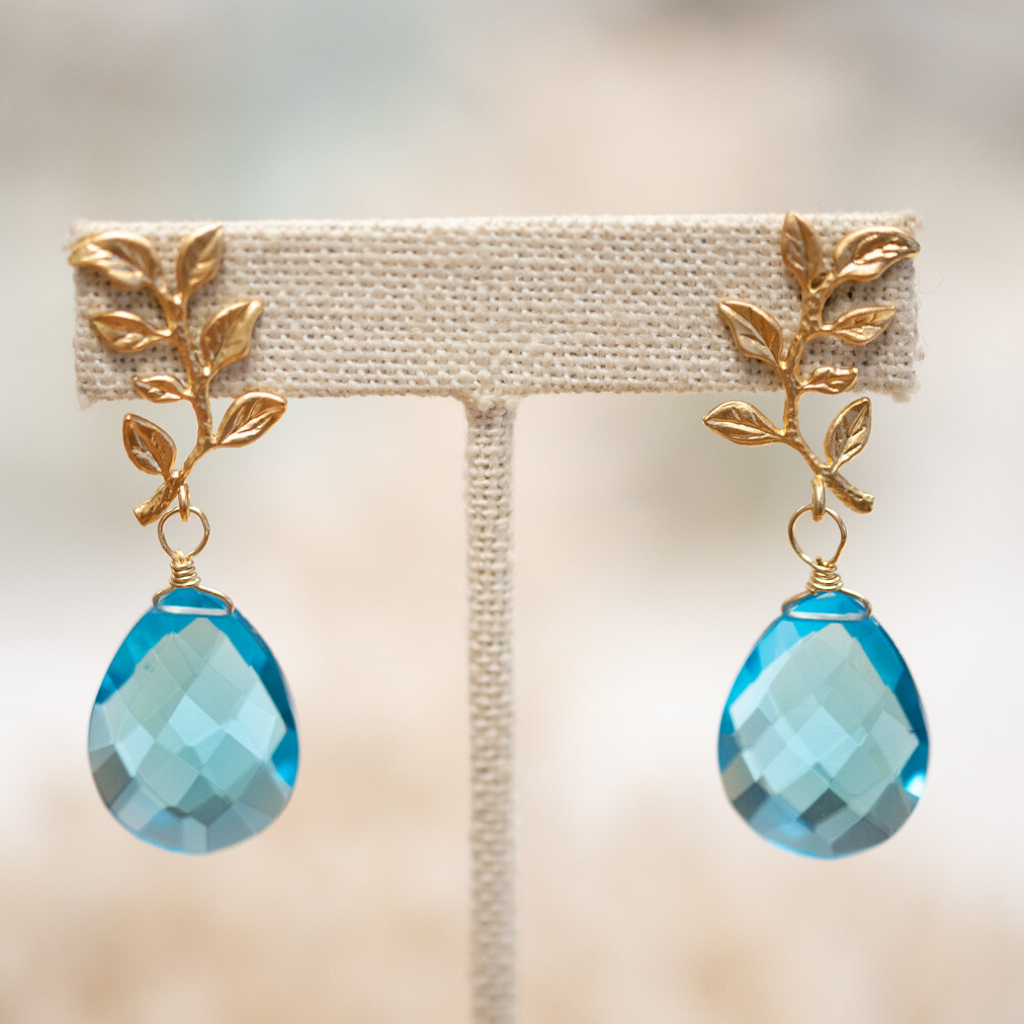 Blue Topaz Crystal and Gold Filled Branch Earrings