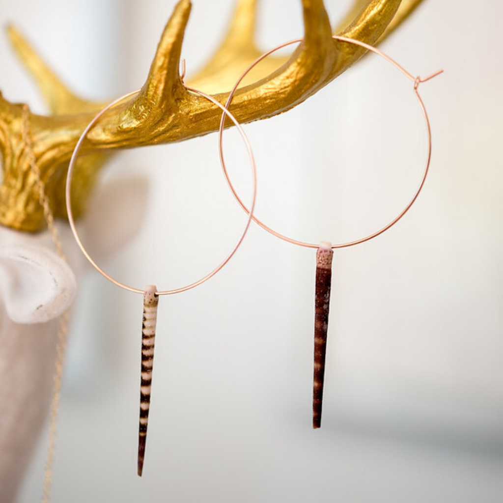 Gold Hoop and Sea Urchin Spine Earrings