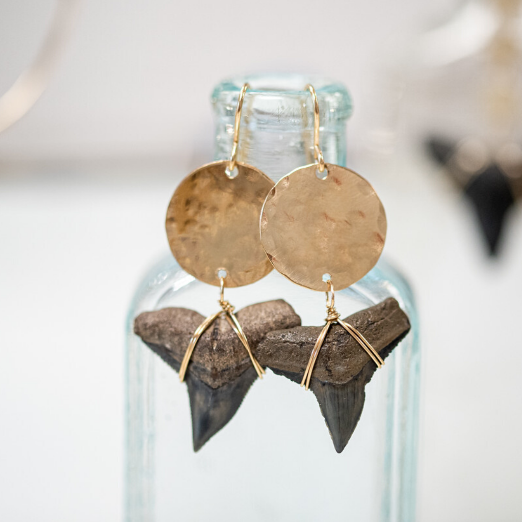Gold-Filled Hammered Bull Shark Tooth Circle Earrings