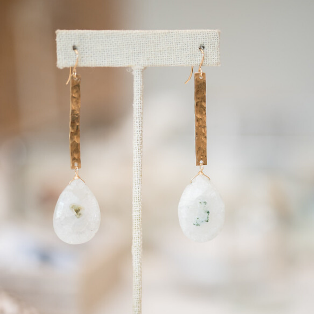 Gold-Filled Bar and Solar Quartz Earrings