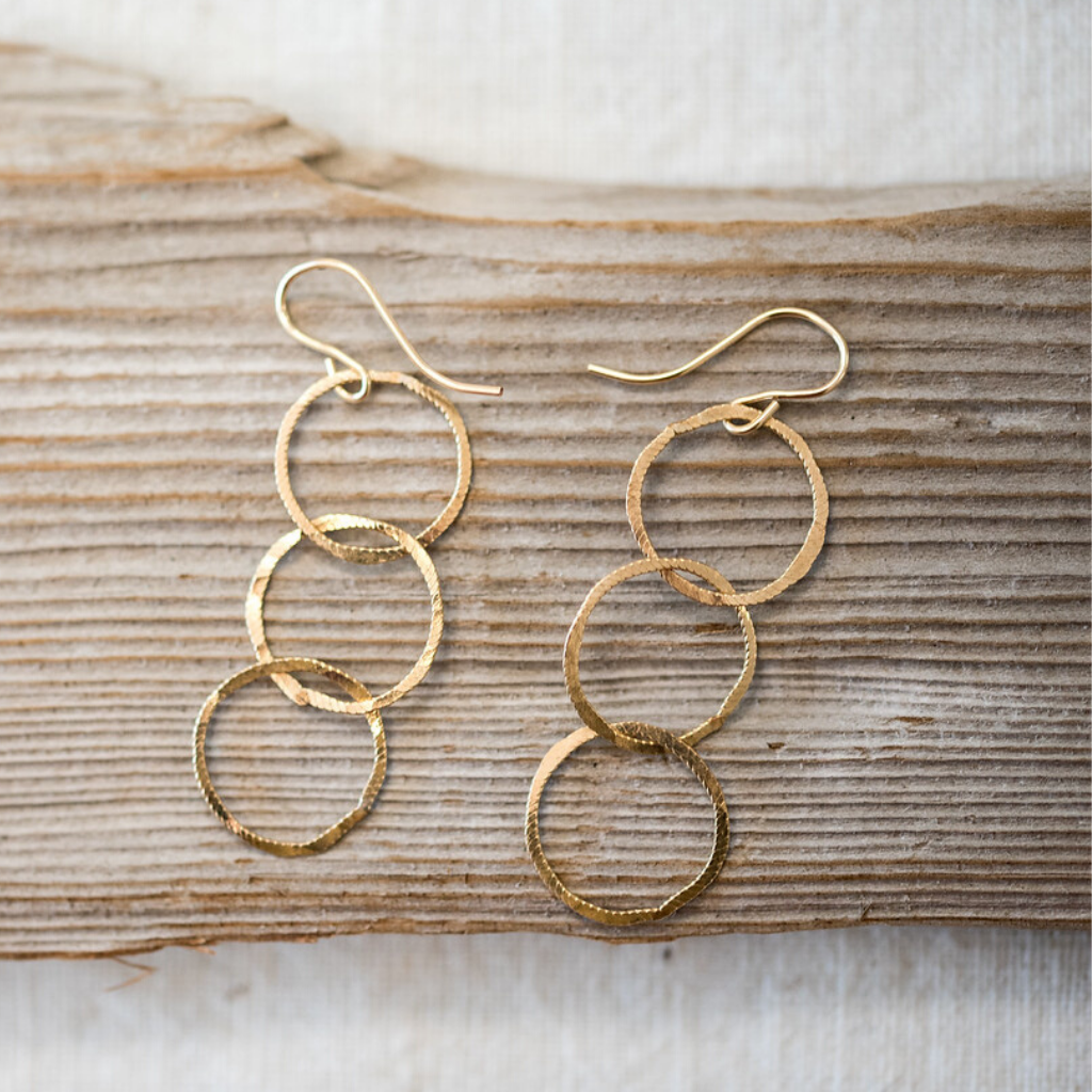 Gold Filled Triple Hoop Dangle Earrings