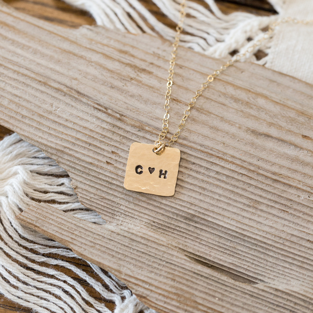 Hand-stamped Heart Monogram Necklace