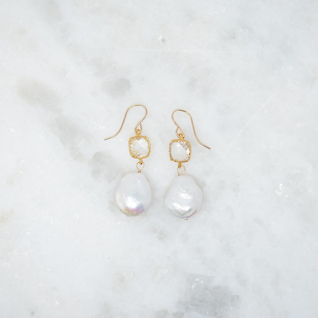 Brides Coin Pearl+Crystal Earrings