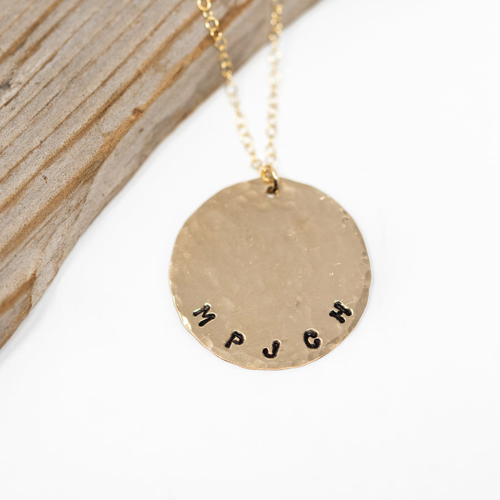 Custom Stamped Large Circle Necklace