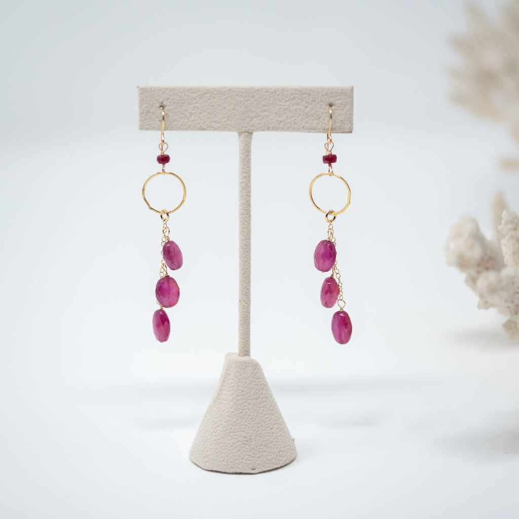 Ruby Waterfall Earrings