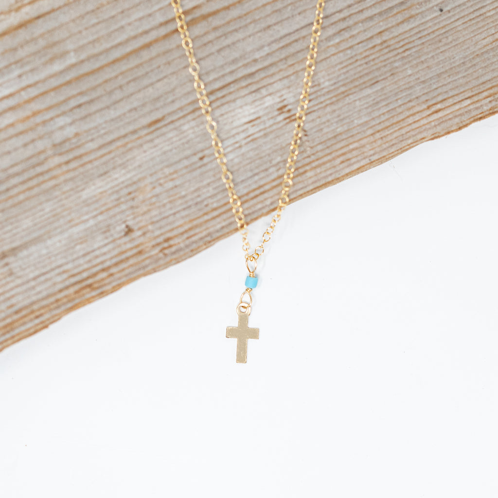 Tiny Gold Filled Cross Necklace