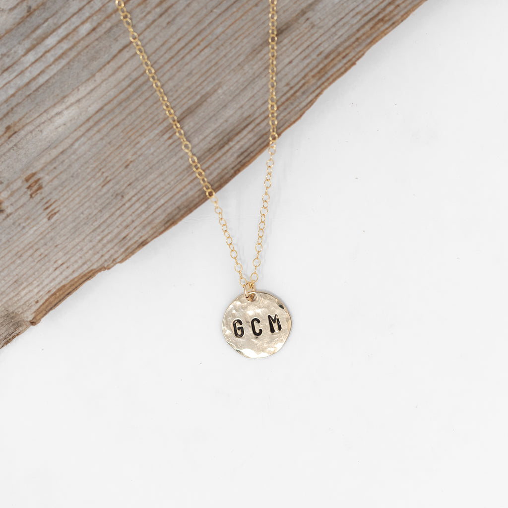 Gold Filled Hand Stamped Circle Initial Necklace
