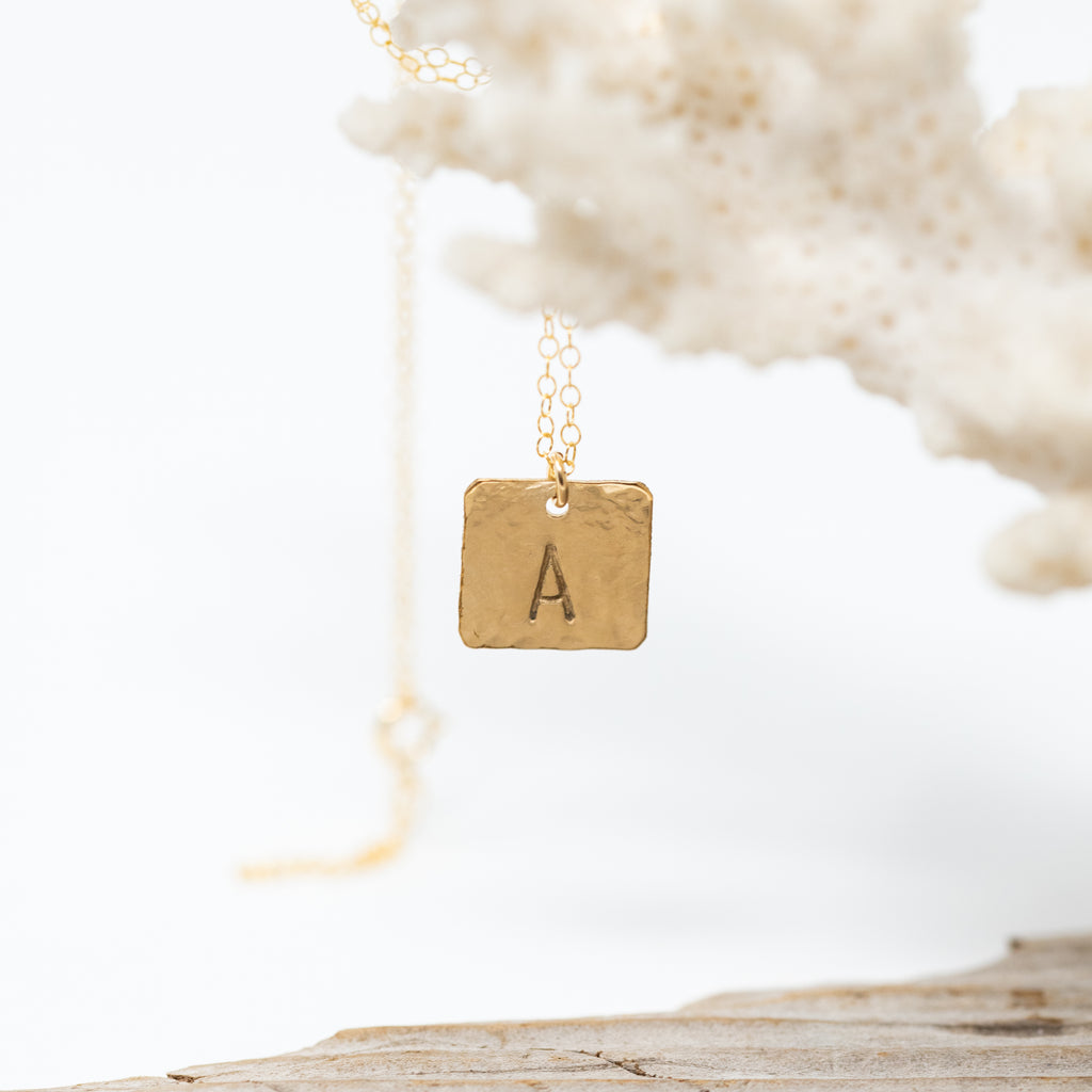 Hand-Stamped Square Monogram Necklace