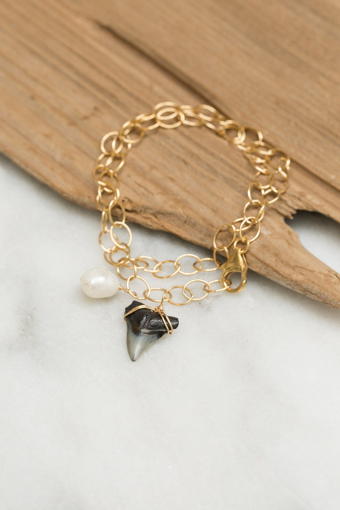Shark Tooth and Pearl Bracelet