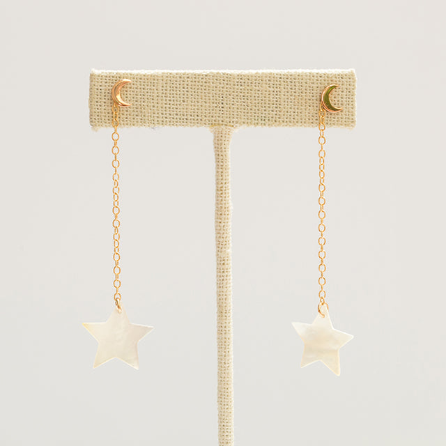 Two in One Star and Moon Earrings