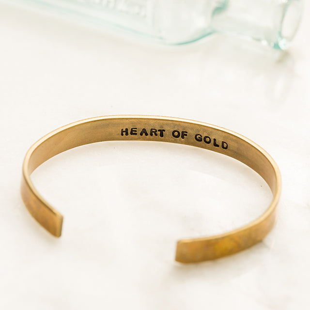 Brass Heart of Gold Cuff Bracelet