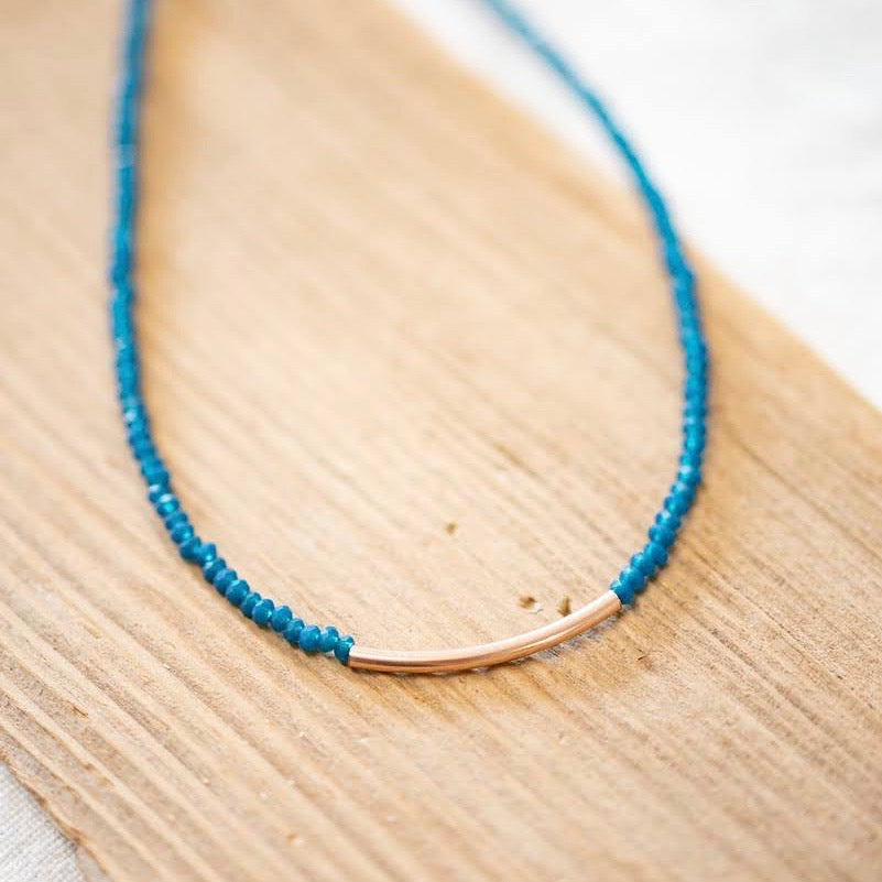 Rose Gold & Blue Beaded Choker Necklace
