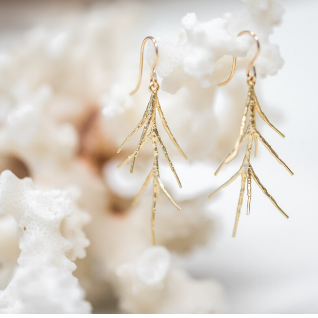 "Organic Brass ""Branch"" Earrings"