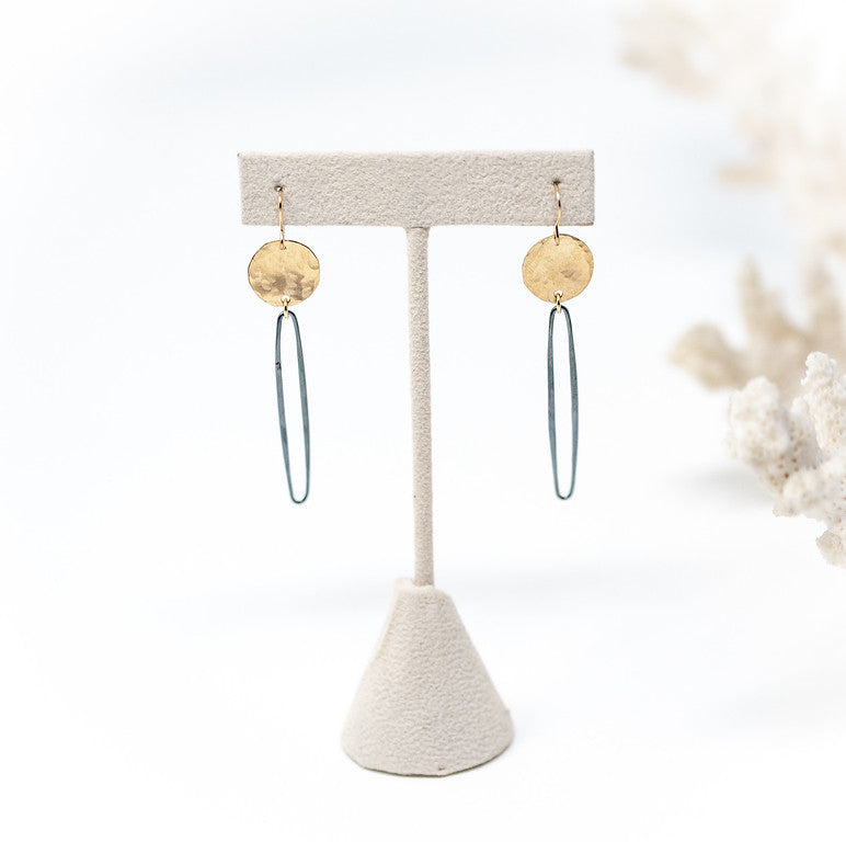 Oxidized and Gold Filled Circle Earrings