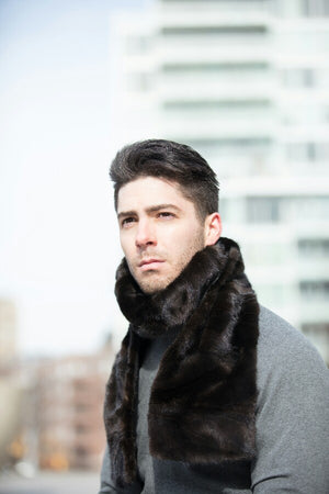 This is a luxurious mink fur scarf for men reversible to cashmere