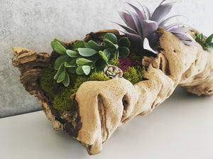 Faux moss and succulent grapevine arrangement