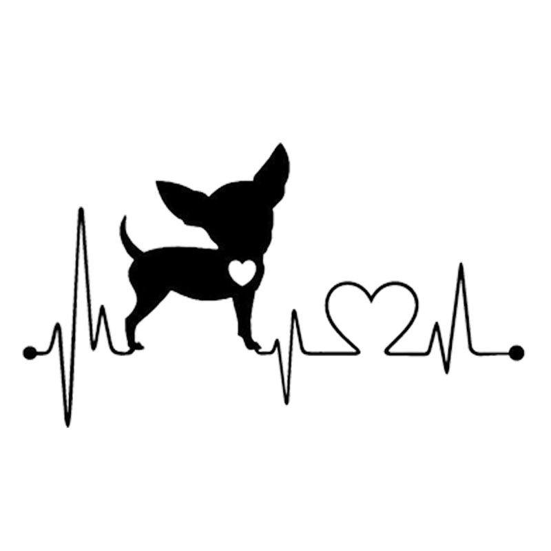Waterproof Chihuahua Heartbeat Car Stickers