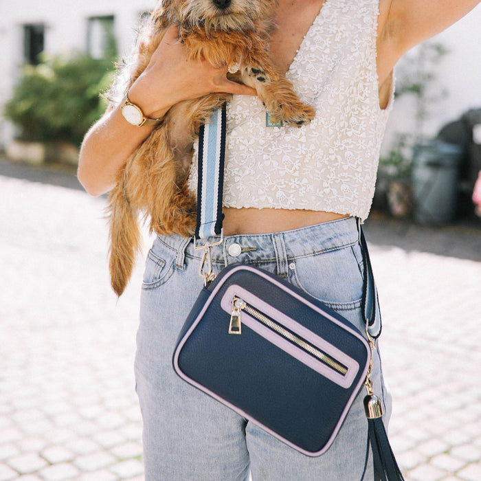 Navy & Lilac Cross Body Bag