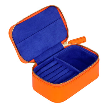 Chelsea Zipped Travel Jewellery Box in Tangerine