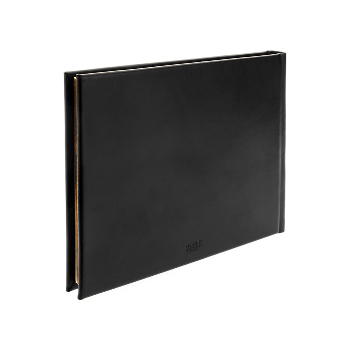 Plain Paged Black Leather Condolence Book