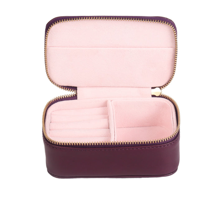 Chelsea Zipped Travel Jewellery Box in Cyclamen