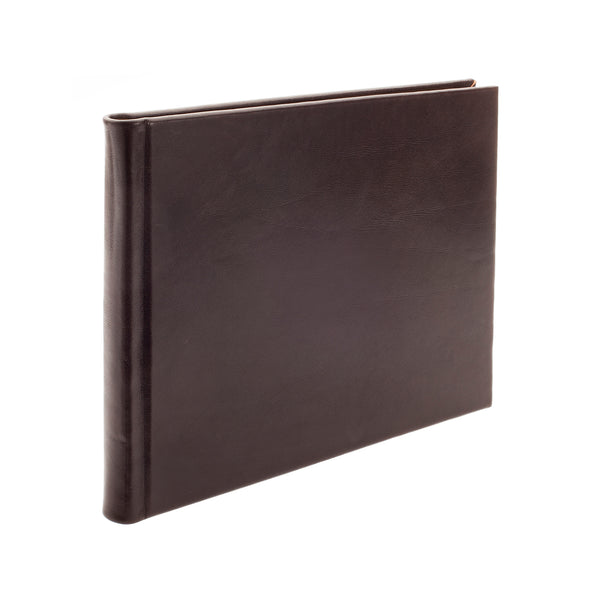 Plain Paged Mocha Leather Condolence Book