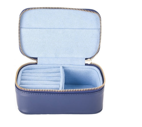 Chelsea Zipped Travel Jewellery Box in Sapphire