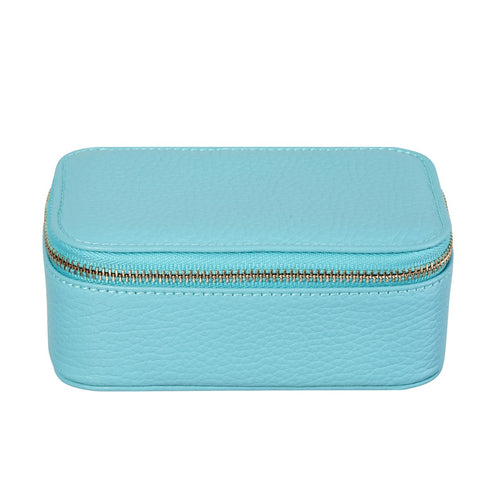 Chelsea Zipped Travel Jewellery Box in Pale Blue