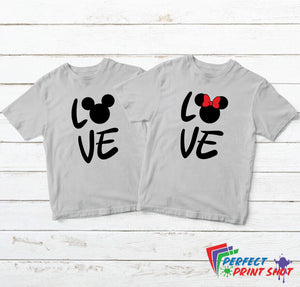"Set tricouri cuplu ""Love - Mickey"""