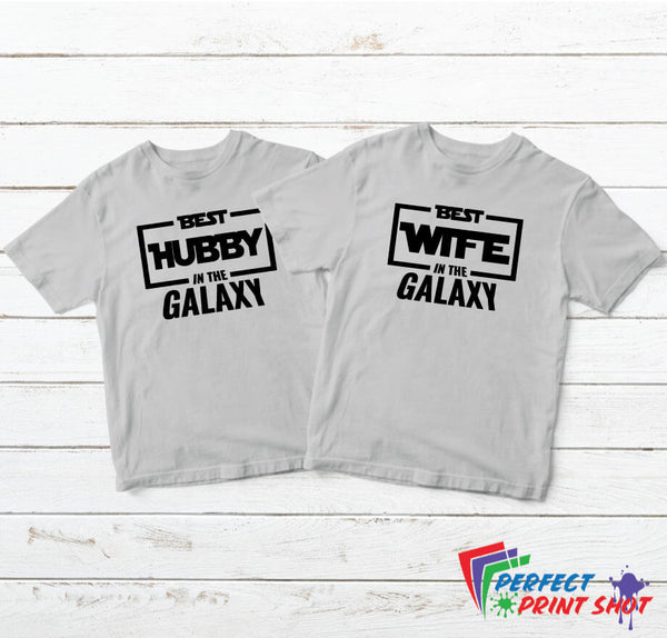 "Set tricouri cuplu ""Best hubby and wife in the galaxy"""
