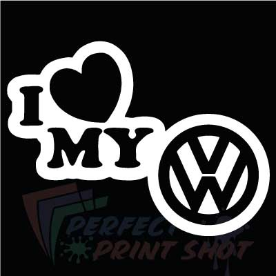 Stiker I love my VW 3