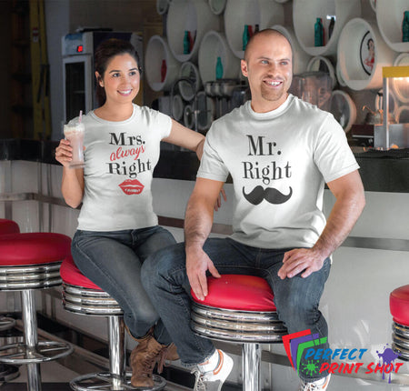 "Set tricouri cuplu ""Mr Right & Mrs. always Right"""