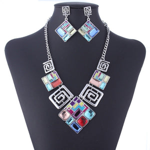 Multicolor Austrian Crystal Necklace and Earring Set