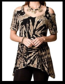 Khaki and Black Print Top