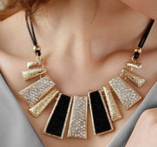 Chunky Collar Gold and Crystal Necklace