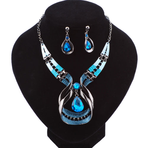 Blue/Green Necklace and Earring Set