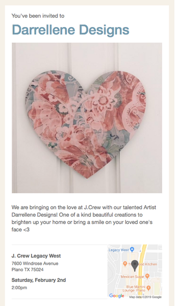 Darrellene Designs at JCrew Legacy West,  February 2  at 2:00