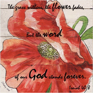 "8"" x 8"" Red Poppy Bible Verse Square Art Isaiah 40:8"