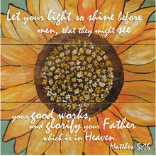 "8"" x 8"" Sunflower Bible Verse Square Art Matthew 5:16"