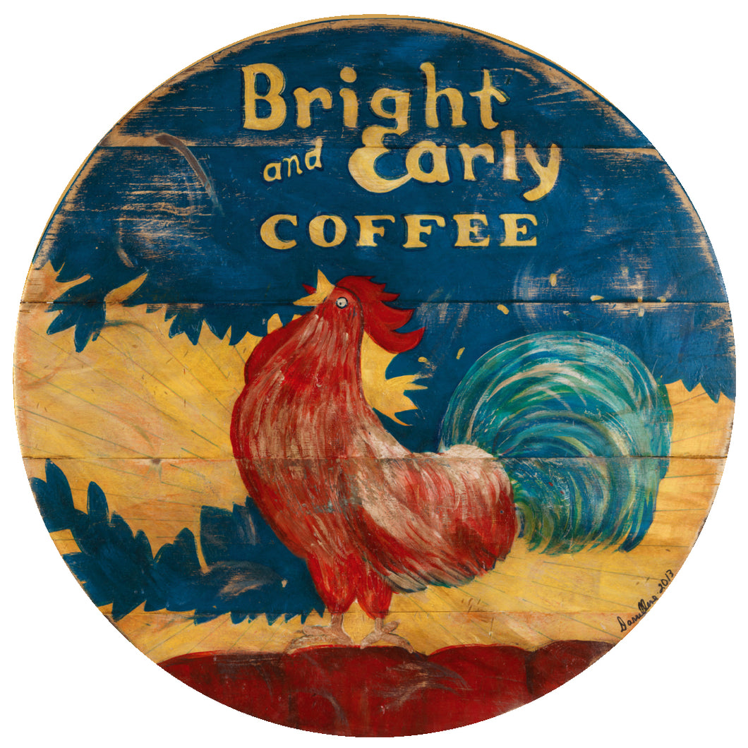 Bright & Early coffee rooster art by Darrellene Designs